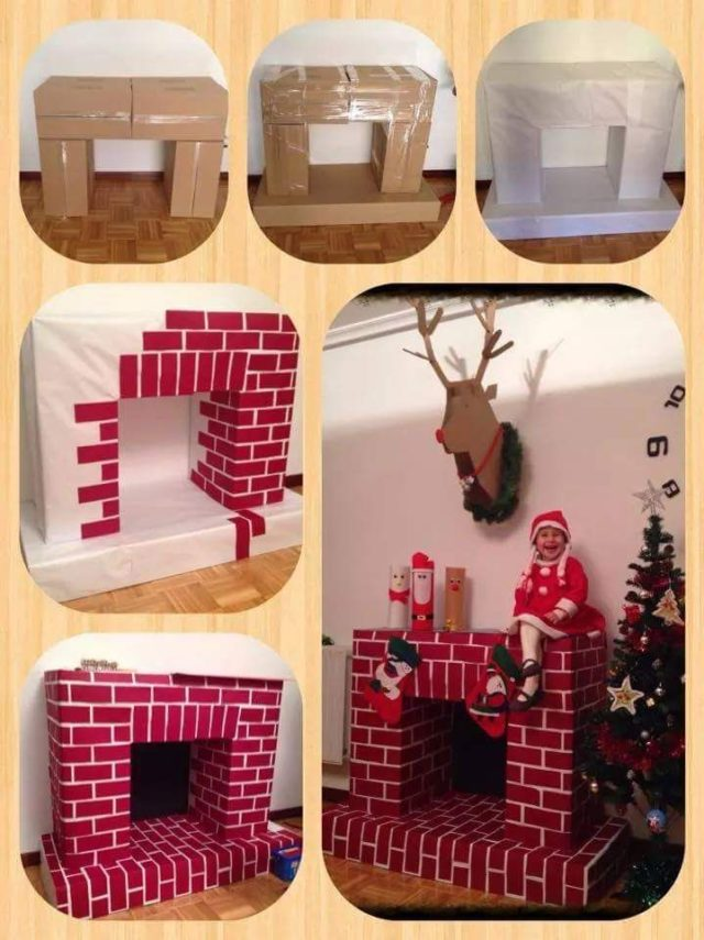 Diy Cardboard Faux Fireplace For Christmas Lazytries